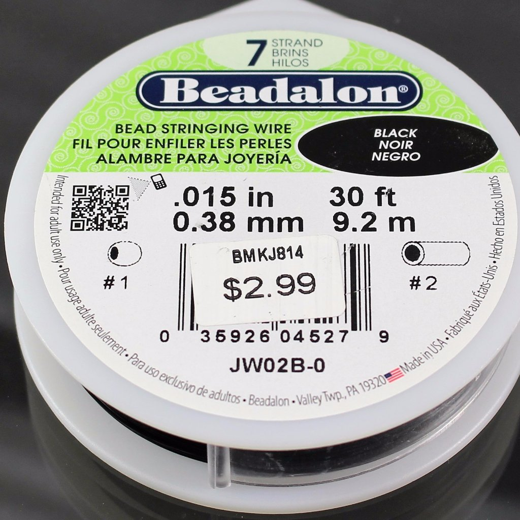 Beadalon Cable, .015, Black, 7 Strand, 30ft. - Azillion Beads