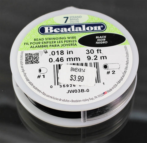 Beadalon .018 Black 7 Strand 30ft  B3-2002