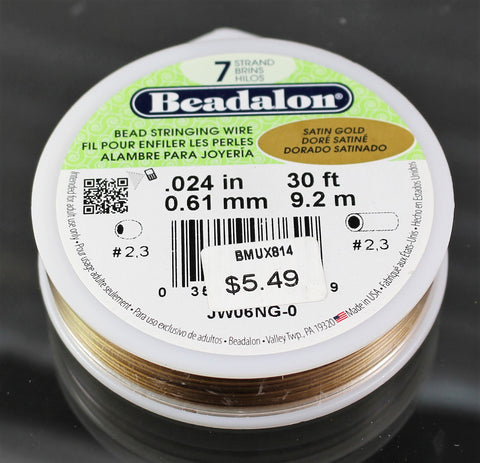 Beadalon .024 Satin Gold 7 Strand 30ft  B3-3002