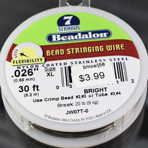 Beadalon Cable,  .026, Bright, 7 Strand, 30ft.