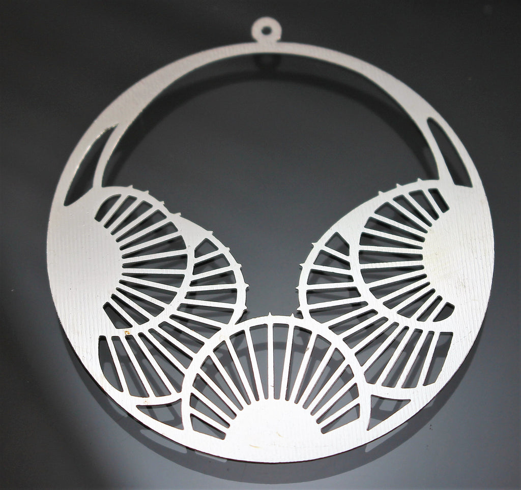 Components/Pendant, Die Cut, Metal, Art Deco Fans. Sku B33038B - Azillion Beads