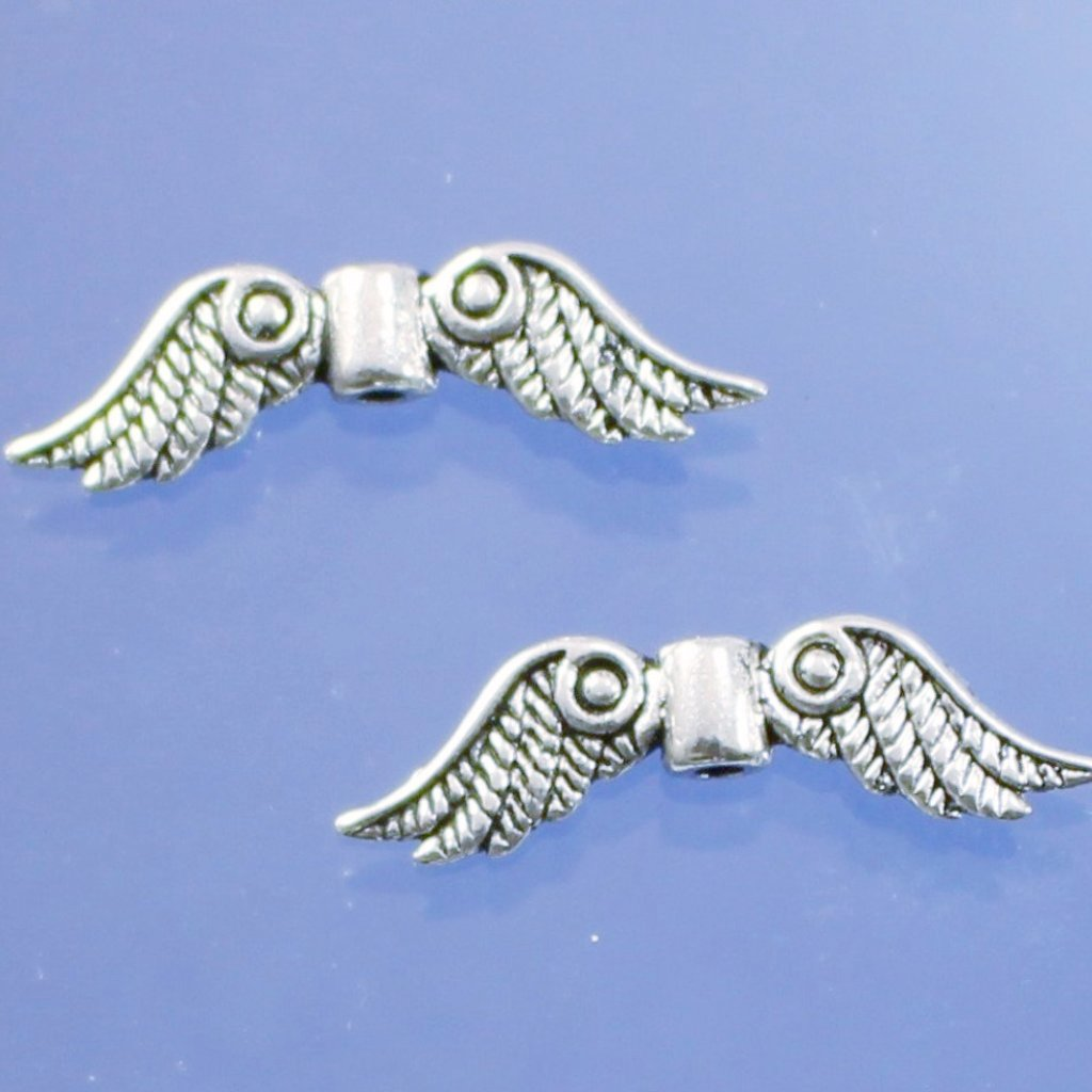 Pewter Wing Beads. Sku B340029F - Azillion Beads