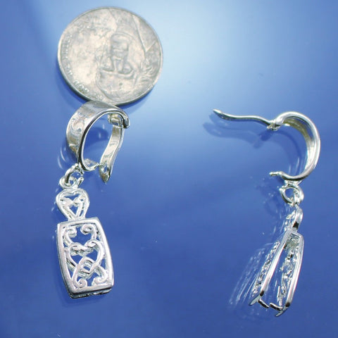 Bail, Filigree, Enhancer  Silver Plate. Sku 35025D