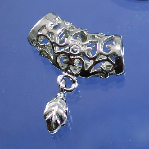 Bail, Filigree, Silver Plated Pinch Bail. Sku B35025F