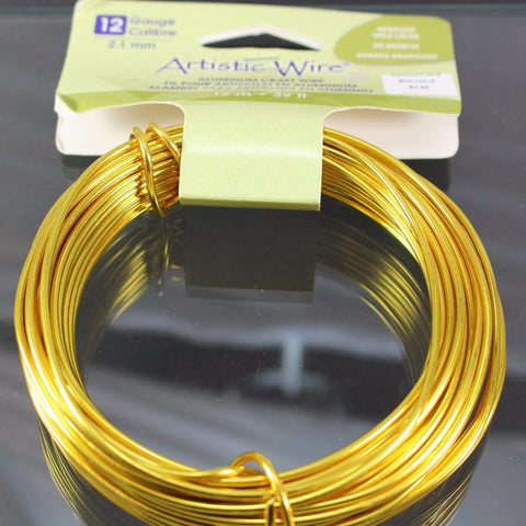 12g Aluminum Craft Wire, Anodized Gold  B3-6001 - Azillion Beads