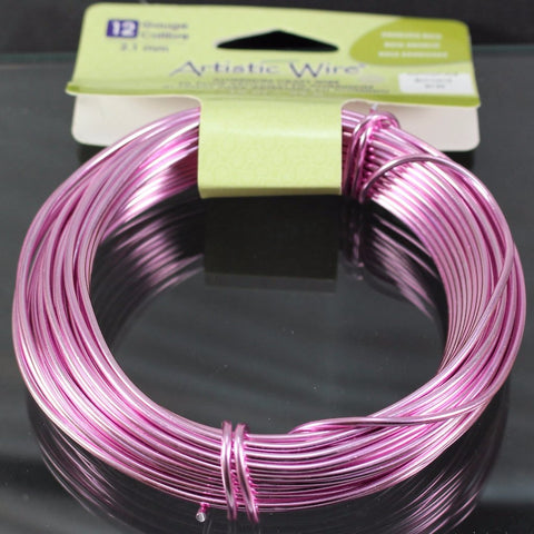 12g Aluminum Craft Wire, Anodized Rose  B3-6002 - Azillion Beads
