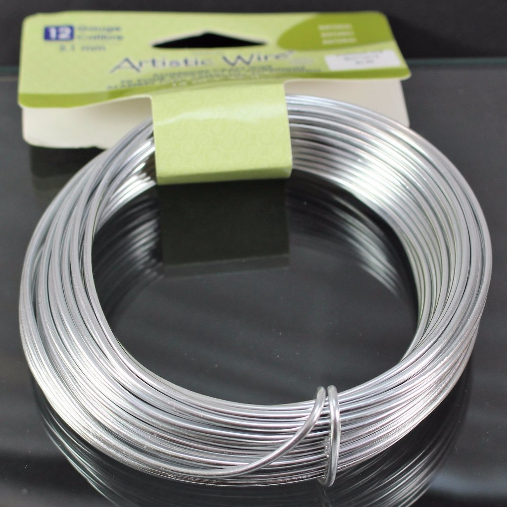 12g Aluminum Craft Wire, Natural  B3-6003 - Azillion Beads