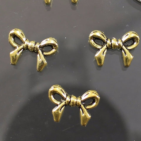 Bead, Pewter, Bow, Gold Plated Sku B41001B - Azillion Beads