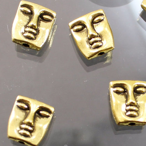Gold Plated Pewter Face Beads. Sku B41003B - Azillion Beads