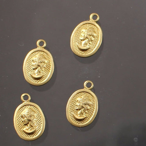 Brass Tiny Cameo Charms, Right And Left. USA Made. Sku B41003D - Azillion Beads