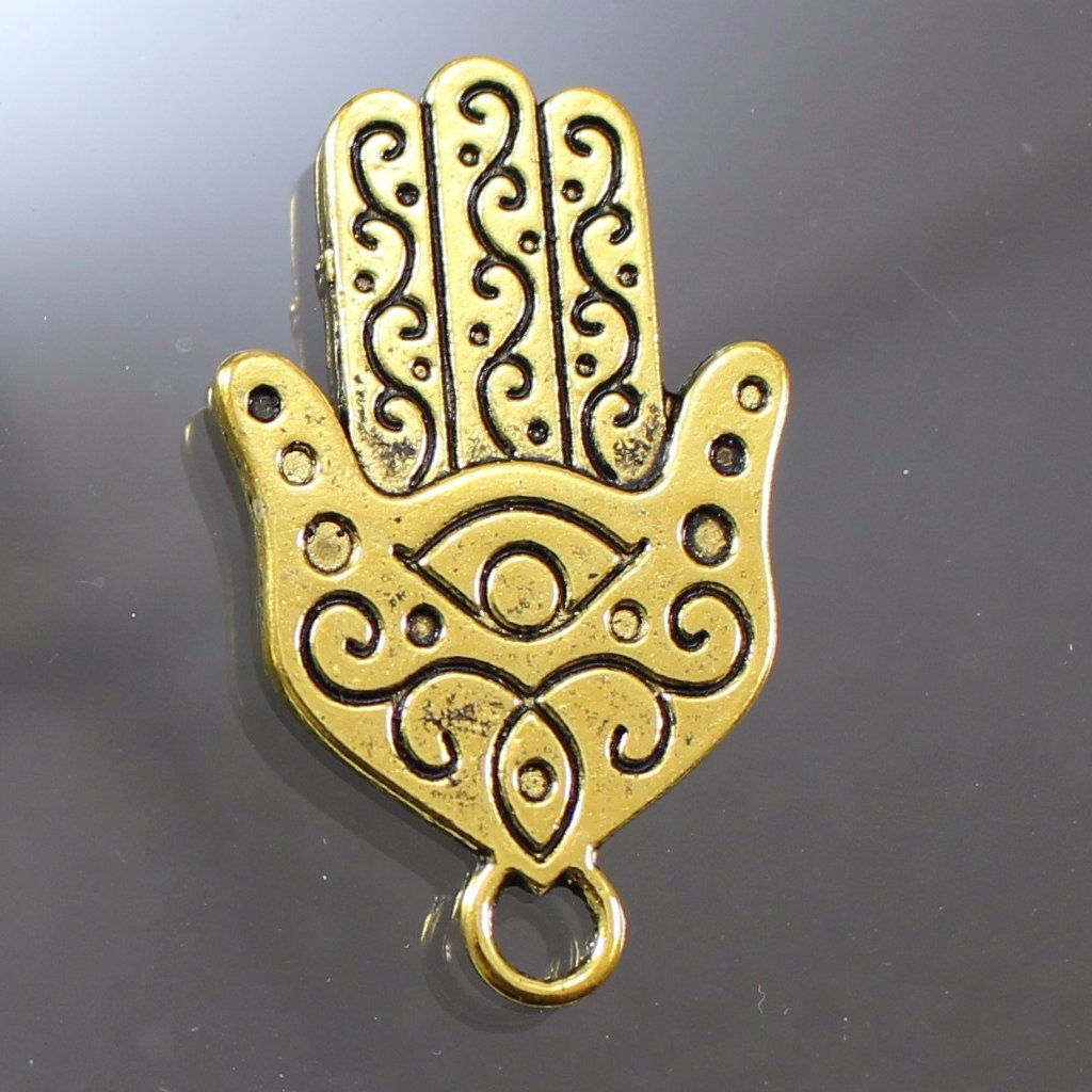 Gold Plated Pewter Hamsa Hand Pendant. Sku B41003A - Azillion Beads