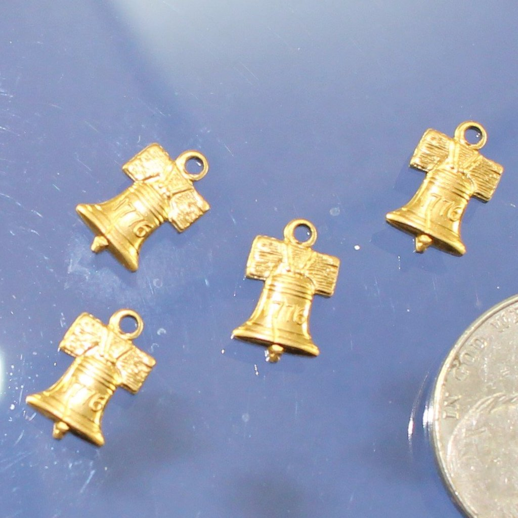 Charm, Brass Liberty Bell Charms. USA. Sku B41004F - Azillion Beads
