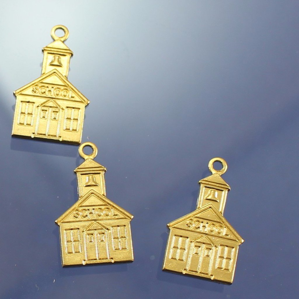 Brass Schoolhouse Charms, USA. Sku B41005A - Azillion Beads