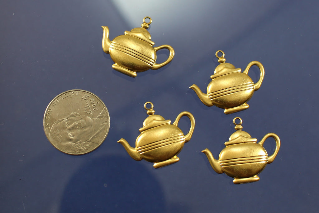 Charms, Brass Tea Pots. USA. Sku B41005B - Azillion Beads