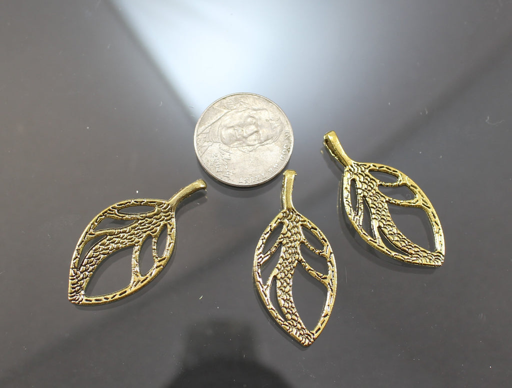 B42002A Gold Plated Pewter Leaves - Azillion Beads