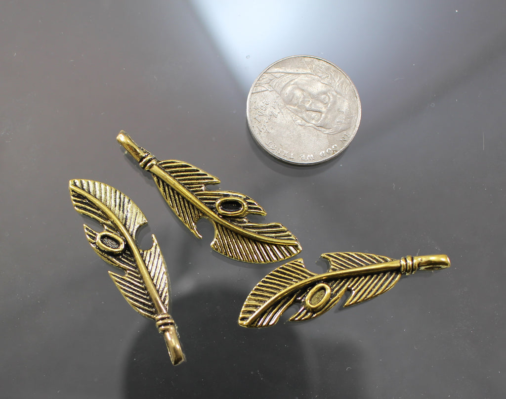 B42004A Gold Plated Pewter Feathers - Azillion Beads