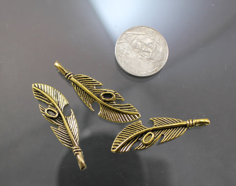 B42004A Gold Plated Pewter Feathers