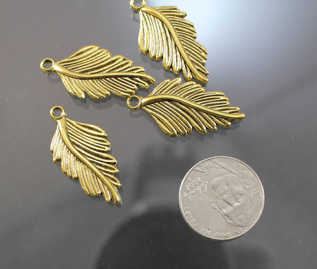 B42004B Gold Plated Pewter Feathers - Azillion Beads
