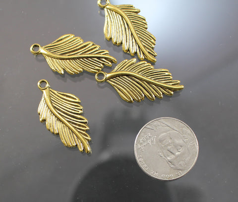 B42004B Gold Plated Pewter Feathers