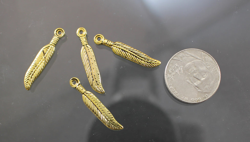 B42004C Gold Plated Pewter Feathers  B4-2004C - Azillion Beads