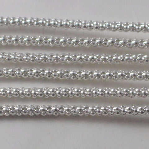 Chain, Silver Plated Popcorn Chain. Sku B4T-SP458 - Azillion Beads