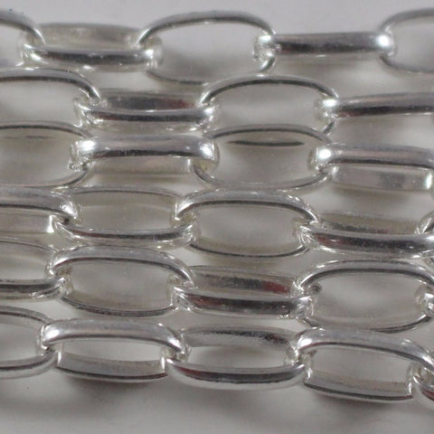 Chain, Silver Plated Elongated Cable Chain. Sku B4T-SP462 - Azillion Beads