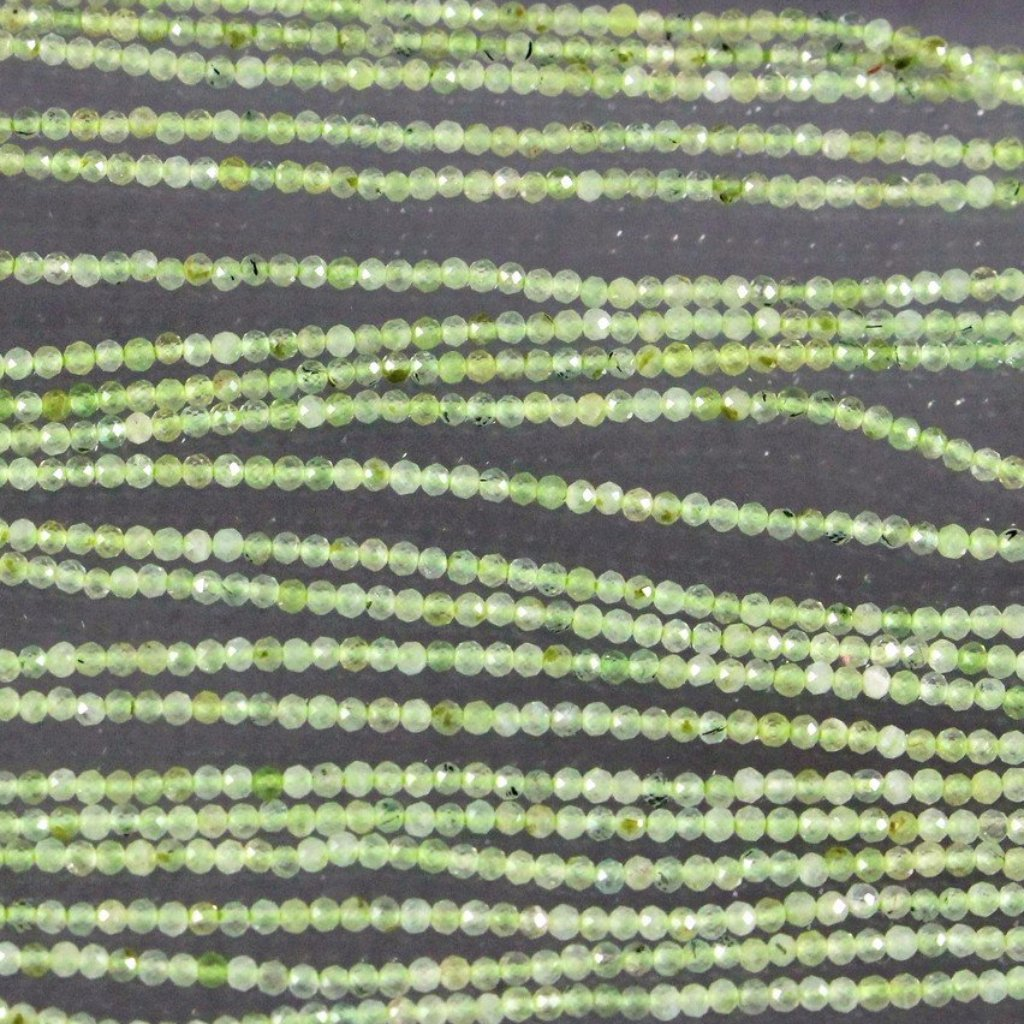 Prehnite, Faceted 2mm Round Beads. Sku W11062