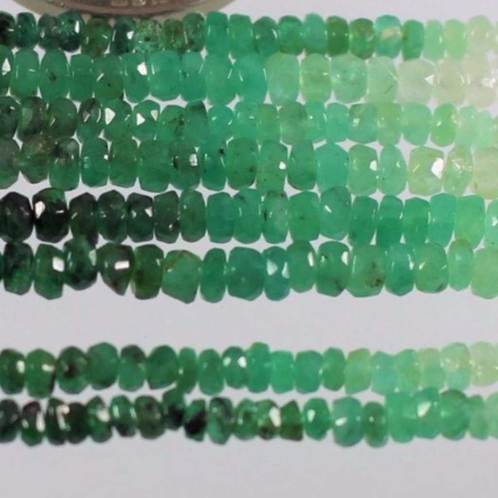 Emeralds, Faceted Rondelle Beads  Sku  W10588 - Azillion Beads