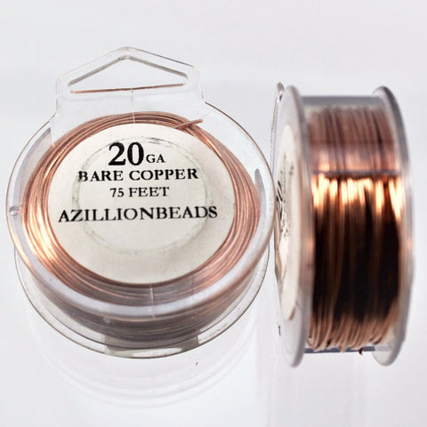 20g Copper Wire, Bare Copper, 75ft  R7S5B-20BC - Azillion Beads
