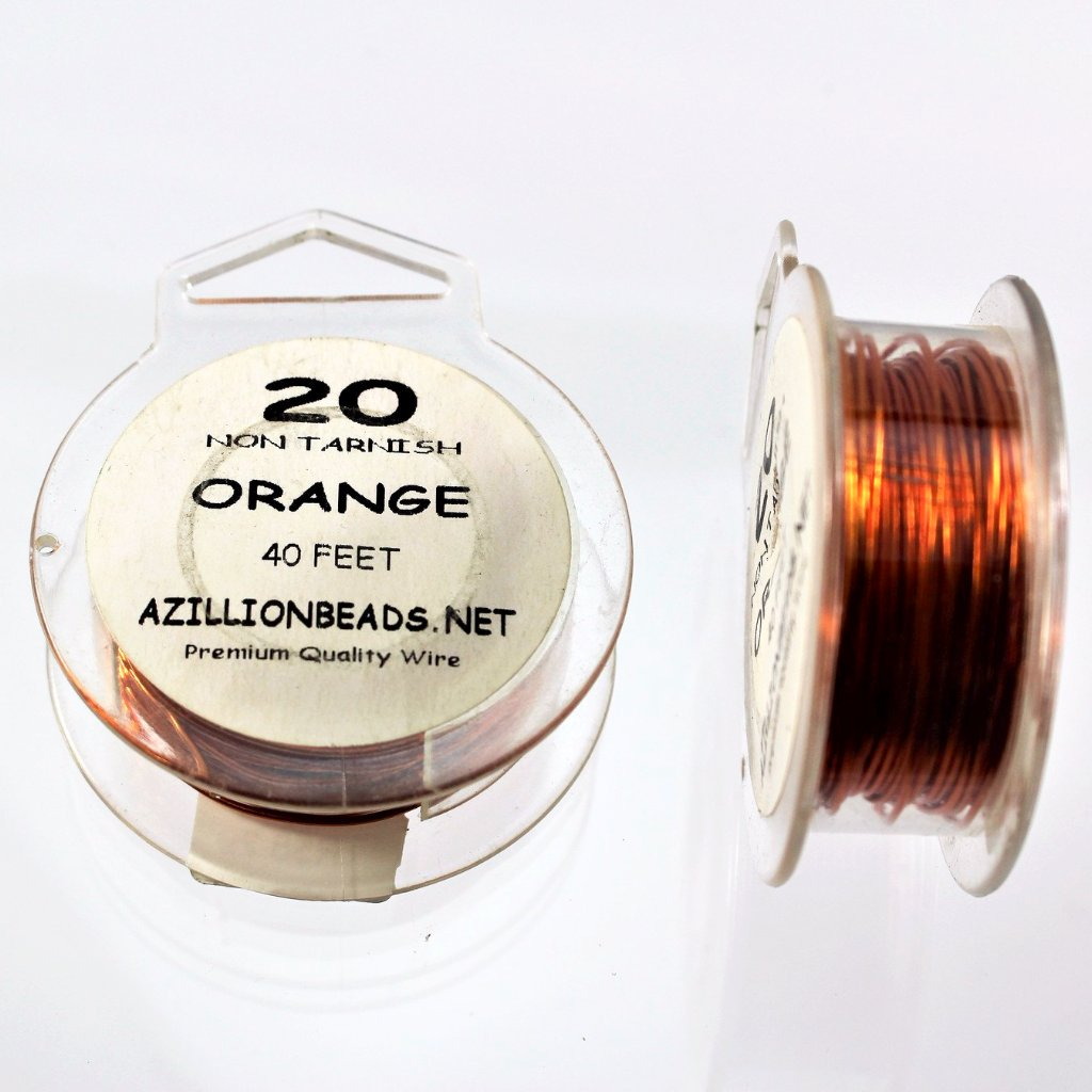 20g Copper Wire, Orange, 40ft  R7S5B-20O - Azillion Beads