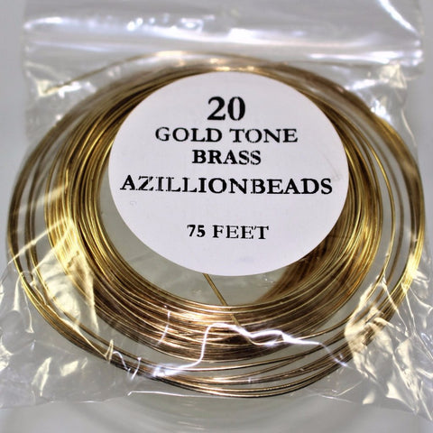 20g Brass Wire, Gold Tone Brass, 75ft  R7S5B-20GTB - Azillion Beads
