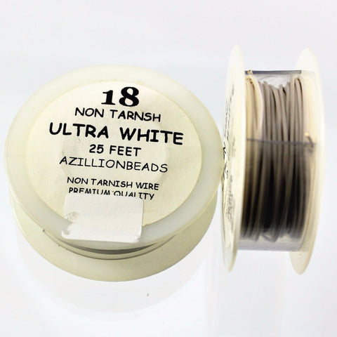 18g Copper Wire, Ultra White, 25ft  R7S4B-18UWH - Azillion Beads