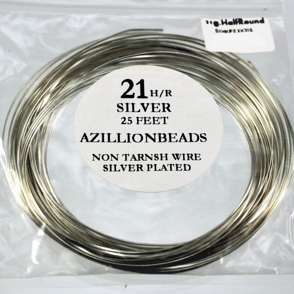 21g Half Round Copper Core Wire, Silver Enameled, 25ft - Azillion Beads