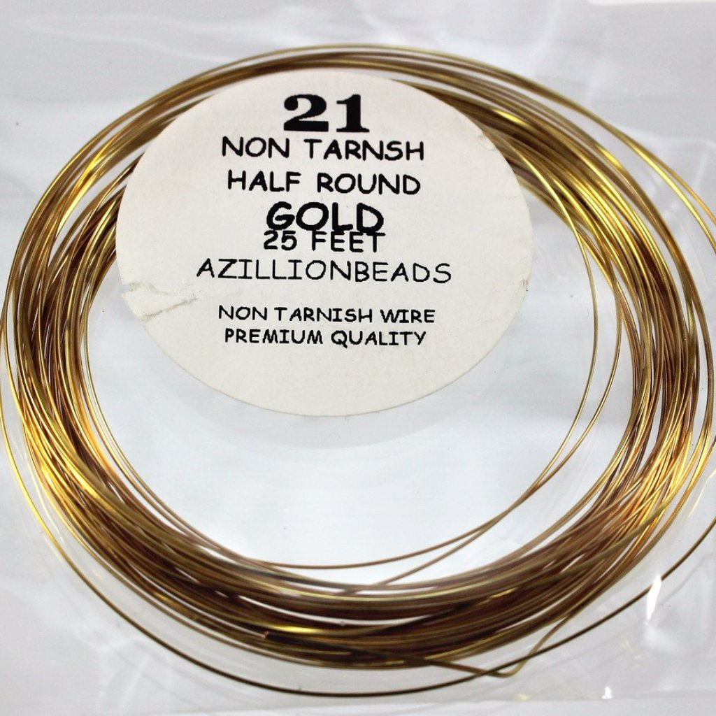 21g Half Round Copper Core Wire, Gold Enameled, 25ft - Azillion Beads