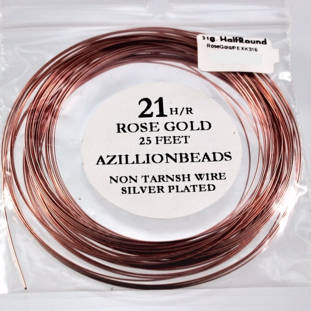 21g Half Round Copper Core Wire, Rose Gold Enameled, 25ft - Azillion Beads