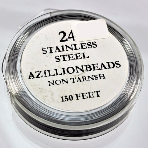 24g Stainless Steel Wire, Natural Color, 150ft   R7S5C-24SS - Azillion Beads