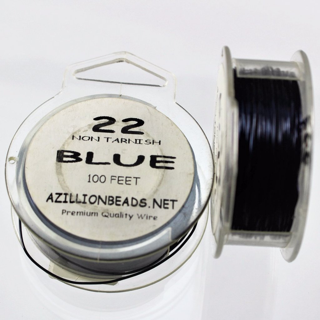 22g Copper Wire, Blue, 100ft   R7S4C-22BL - Azillion Beads