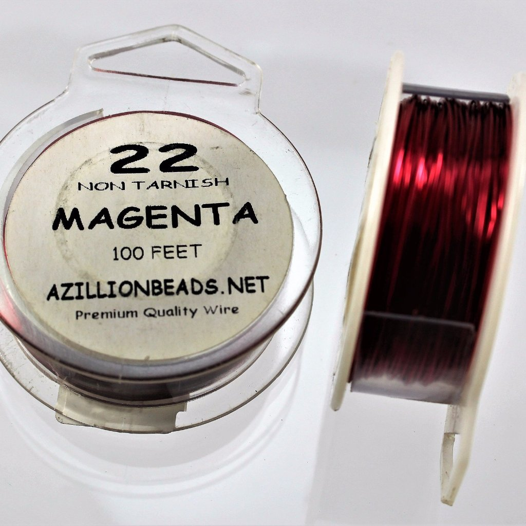 22g Copper Wire, Magenta, 100 ft  R7S4C-22MAG - Azillion Beads