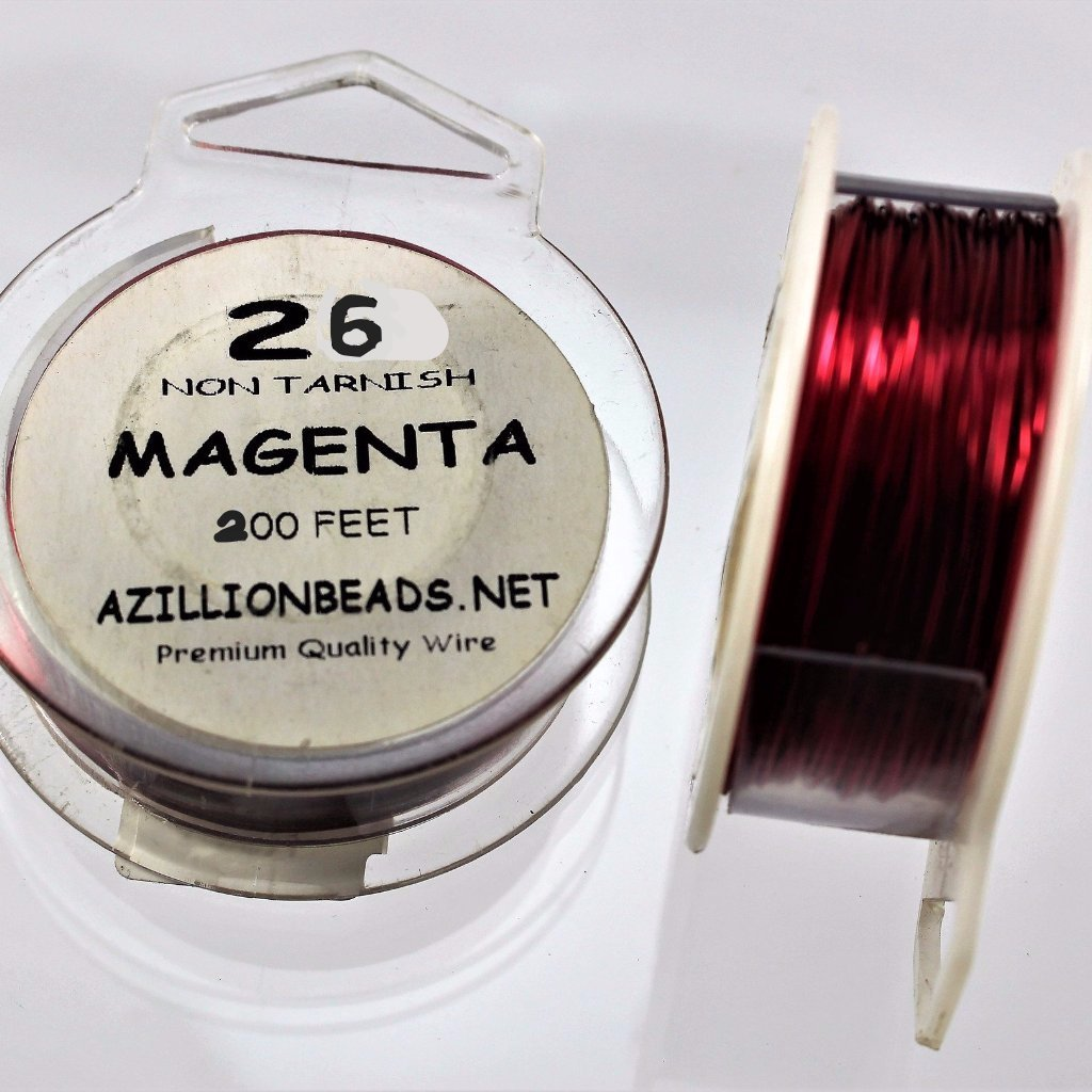 26g Copper Wire, Magenta, 200 ft  R7S5C-26MAG - Azillion Beads