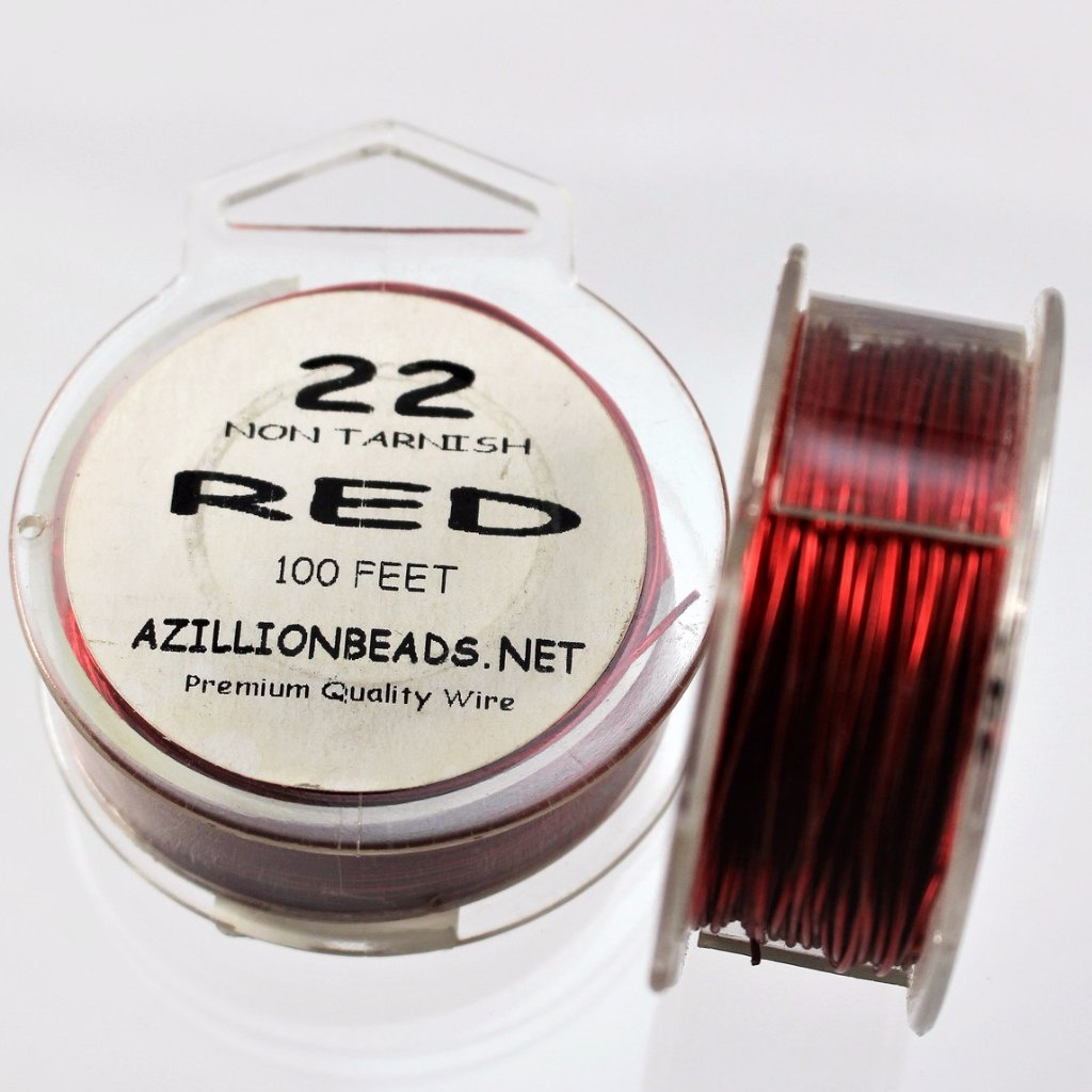 22g Copper Wire, Red, 100ft  R7S4C-22R - Azillion Beads