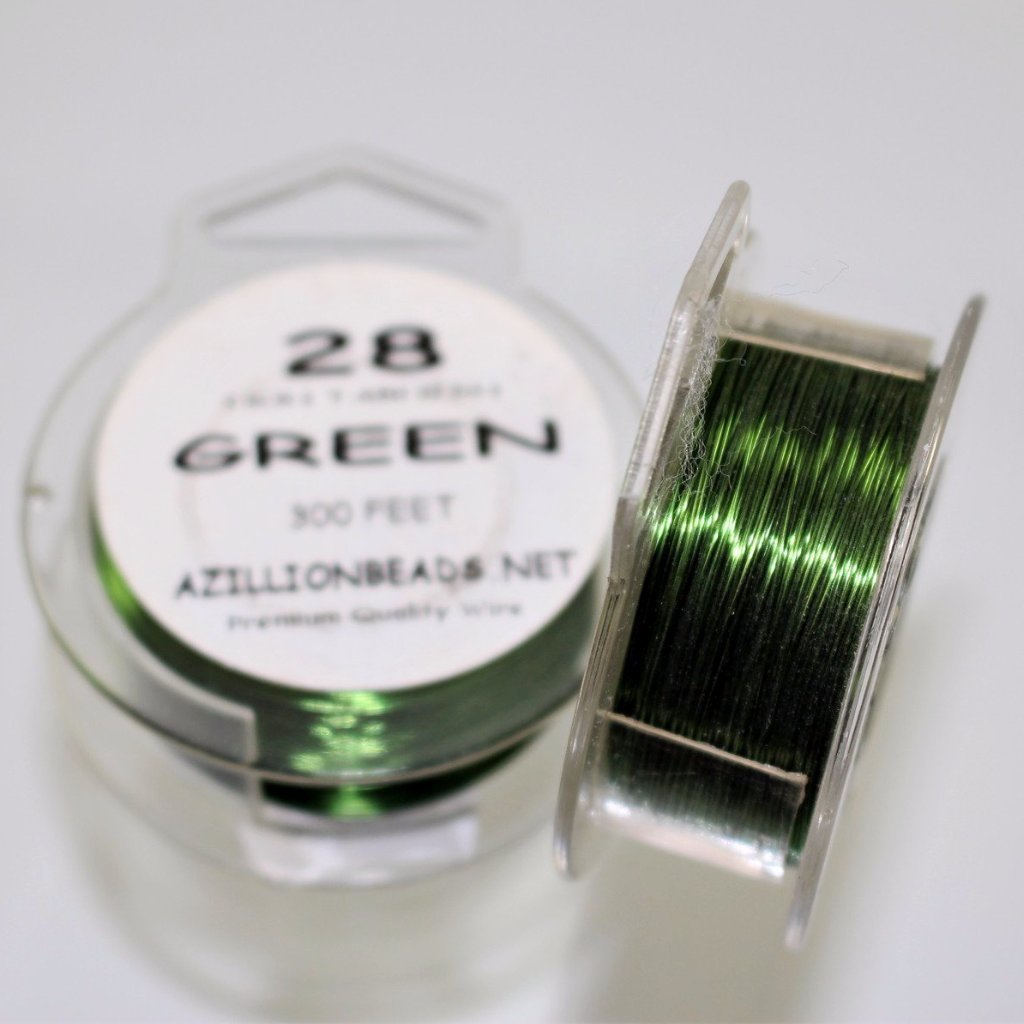 28g Copper Wire, Green, 300ft  R7S5C-28GR - Azillion Beads