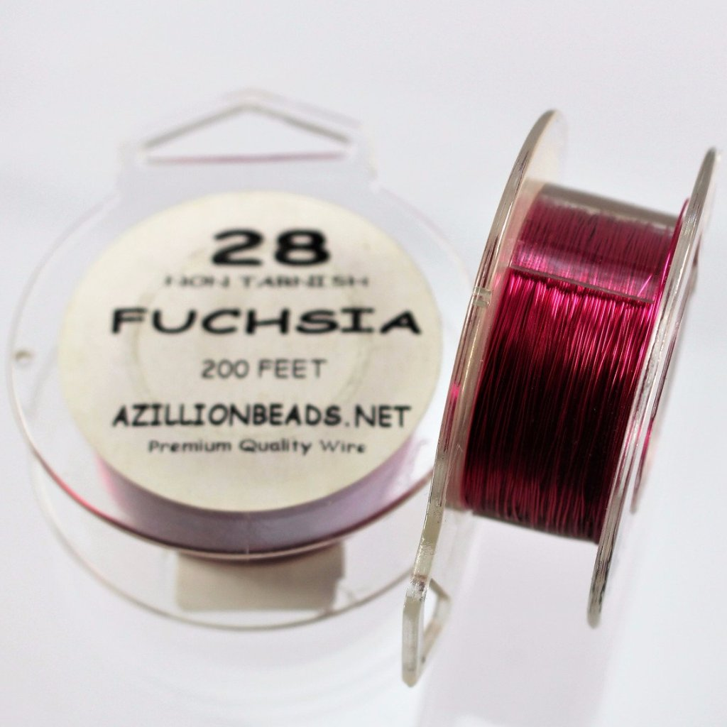 28g Copper Wire, Fuchsia, 200ft  R7S5C-28F - Azillion Beads