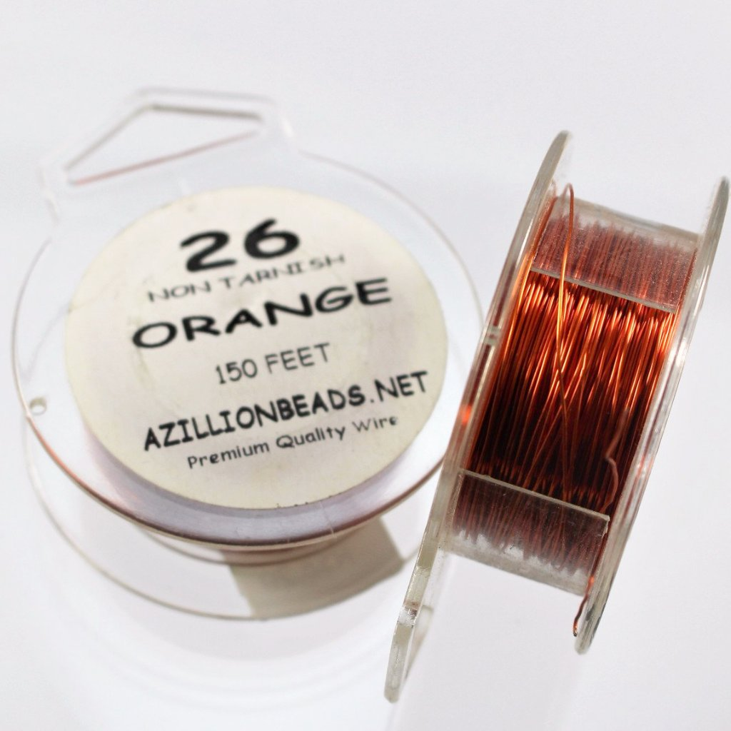 26g Copper Wire, Orange, 200ft   R7S5C-26O - Azillion Beads