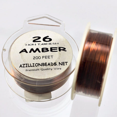 26g Copper Wire, Amber, 200ft   R7S5C-26AM - Azillion Beads