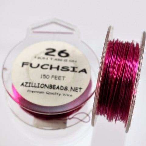 26g Copper Wire, Fuchsia, 150ft  R7S5C-22F - Azillion Beads