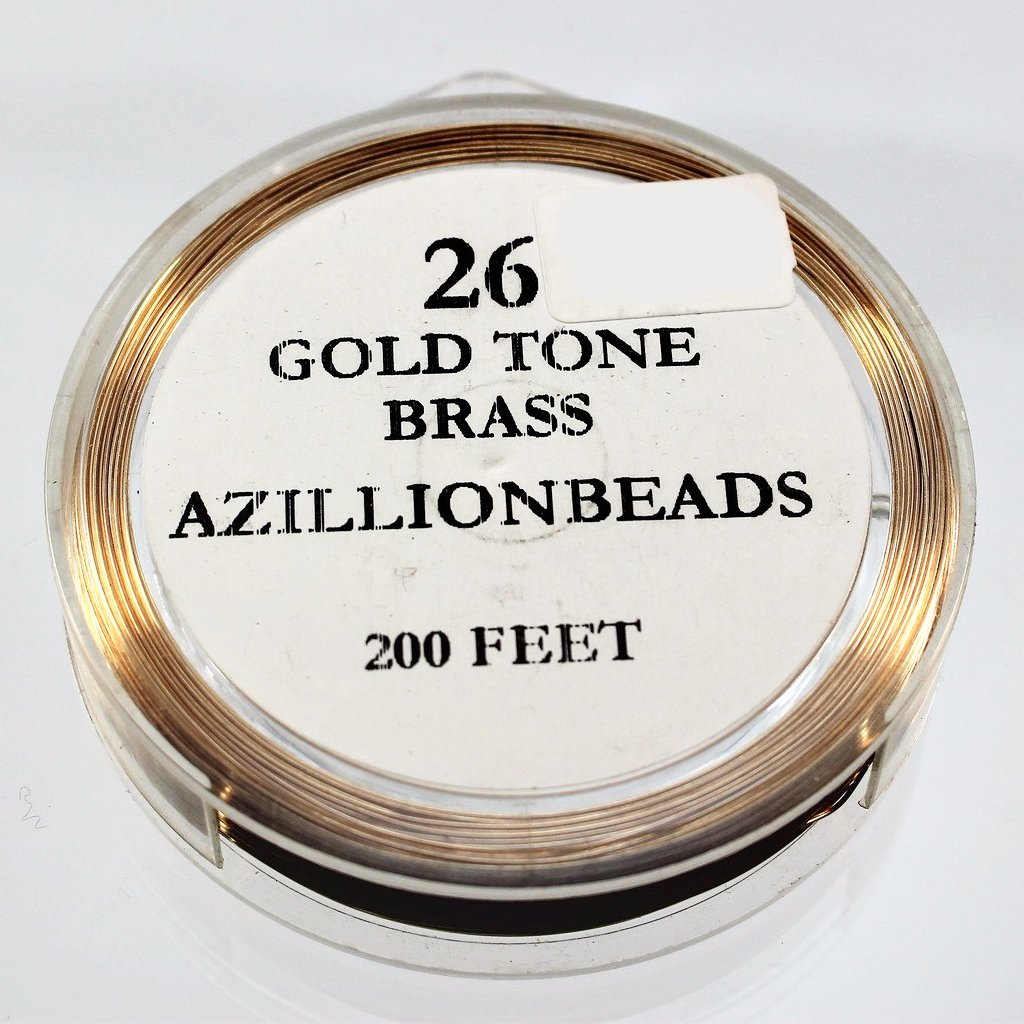 26g Brass Wire, Gold Tone Brass, 200ft  R7S5C-26GTB - Azillion Beads
