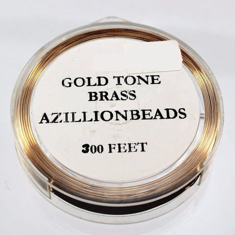 28g Brass Wire, Gold Tone Brass, 300ft  R7S5C-28GTB - Azillion Beads