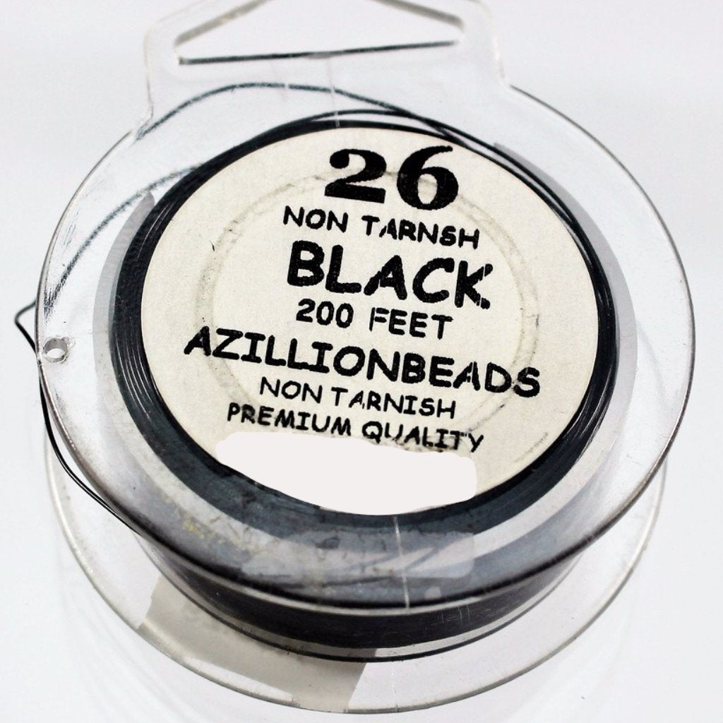 26g Copper Wire, Black, 200ft  R7S5C-26BLK - Azillion Beads