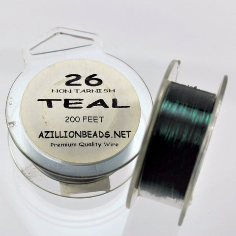 26g Copper Wire, Teal, 200ft  R7S5C-26TEA - Azillion Beads