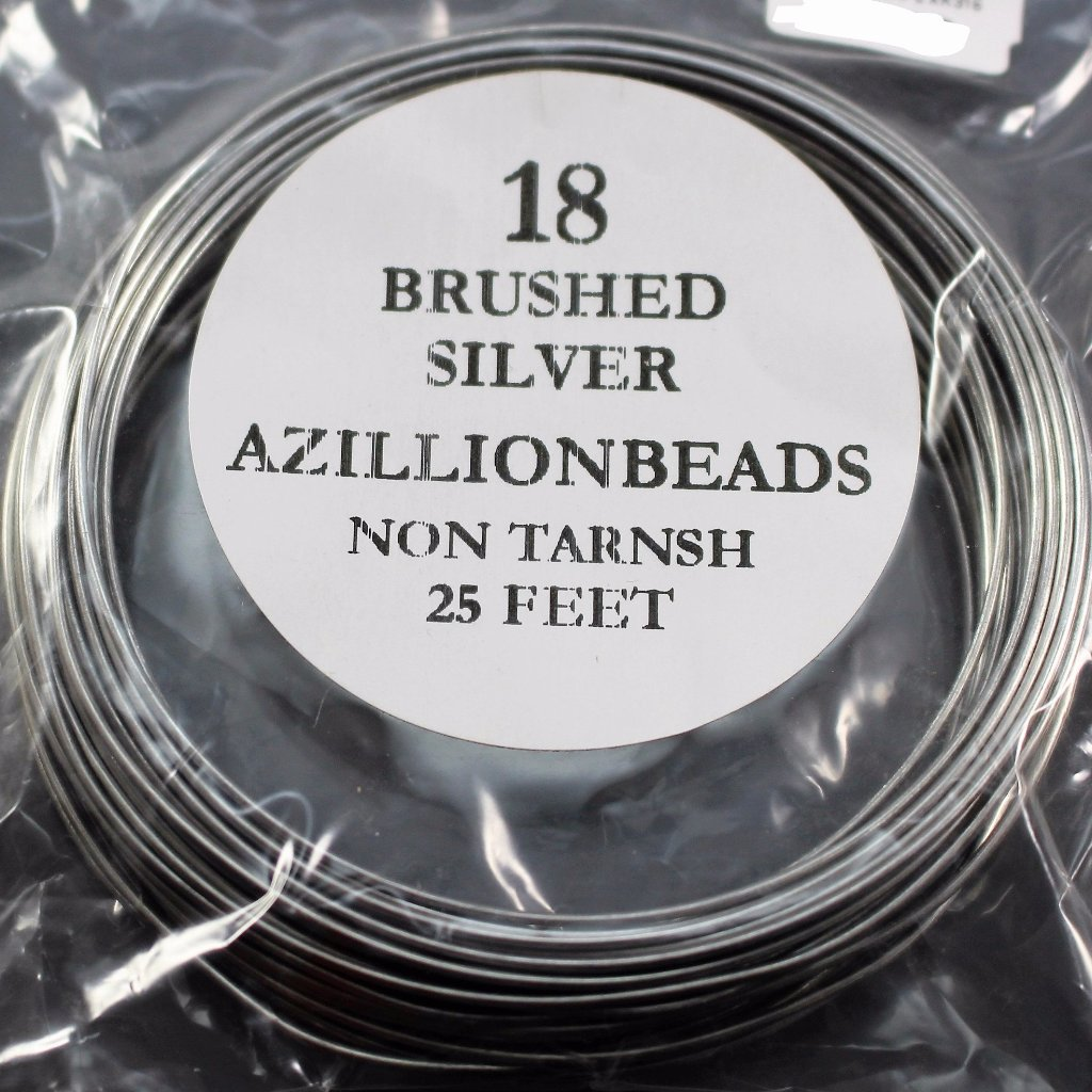 18g Copper Core Wire, Brushed Silver, 25ft - Azillion Beads